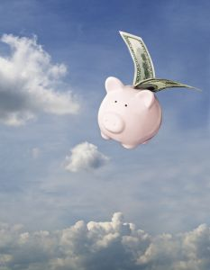 Piggy bank flying free in Sky